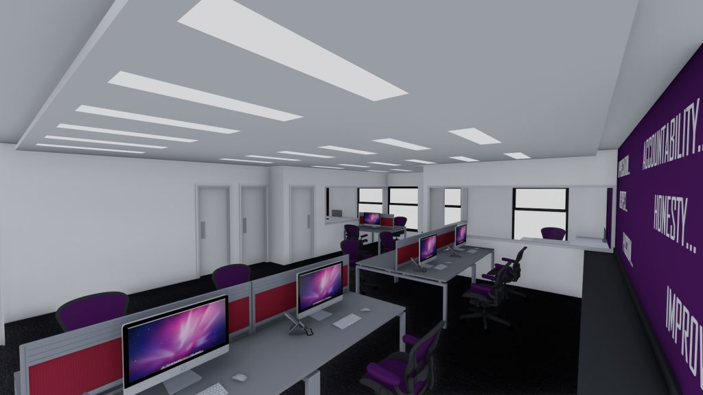 Images of open plan office area illustrating layout, colours and lighting