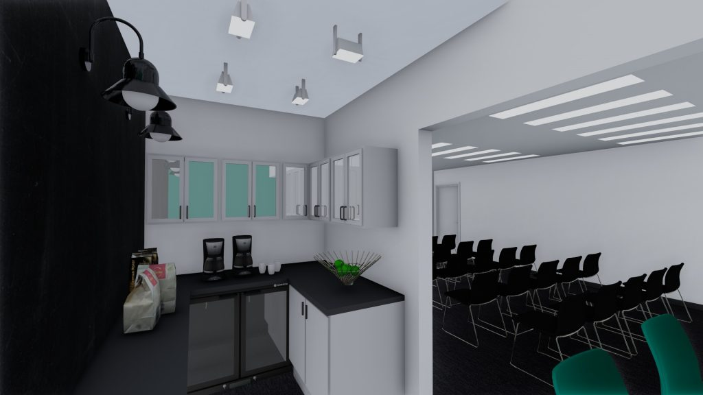 Image shows a 3D visualization of the tea point and refreshment area to a seminar and conference room.