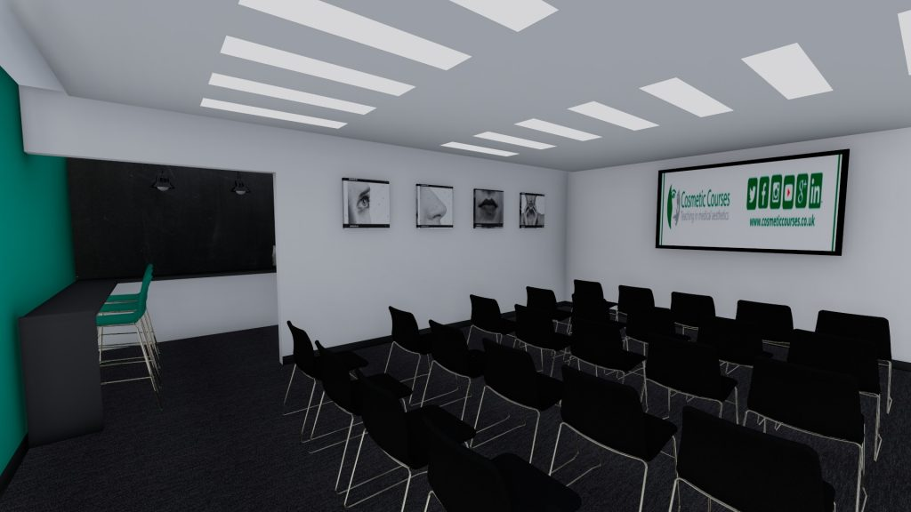 Images shows a 3d visualization of an office presentation and conference room with a tea point and refreshment station