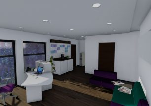 Image shows the reception desk and waiting area with facilities for tea and coffee.